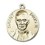 14kt Yellow Gold Pope Pius X Medal 1 x 7/8 inches