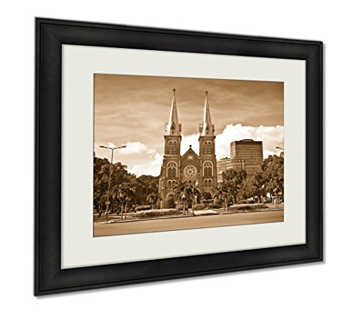 Ashley Framed Prints Notredame Cathedral Landmark Ho Chi Minh City Vietnam, Wall Art Home Decoration, Sepia, 30x35 (frame size), AG6087523 by Ashley Framed Prints