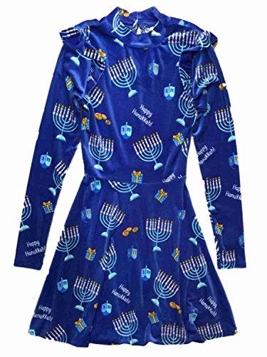 Xhilaration Junior Womens Blue Velvet Happy Hanukkah Holiday Dress Menora Outfit Small