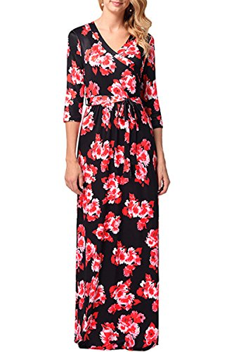 Maxi Flower YMING Black Flower Women's Dress Nack Dress Dress Wrap red For V Beach Print 8487rvwq