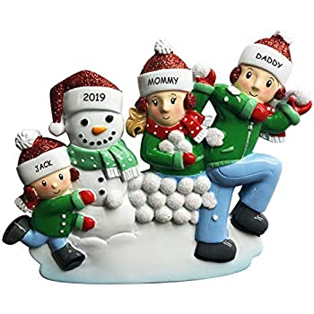 4 Tall Handpainted Resin 2 People Free Customization - Couple or Siblings Snowfun Calliope Designs Snowball Fight Personalized Christmas Ornament