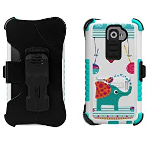 Beyond Cell High Impact Rugged Tri Shield« Kombo« Case & Holster Built Clip with Clear Screen Protector film for LG G2 D800/D801/D802/LS980/VS980 Animal Series - Berryphant - White/Light Blue - Retail Packaging