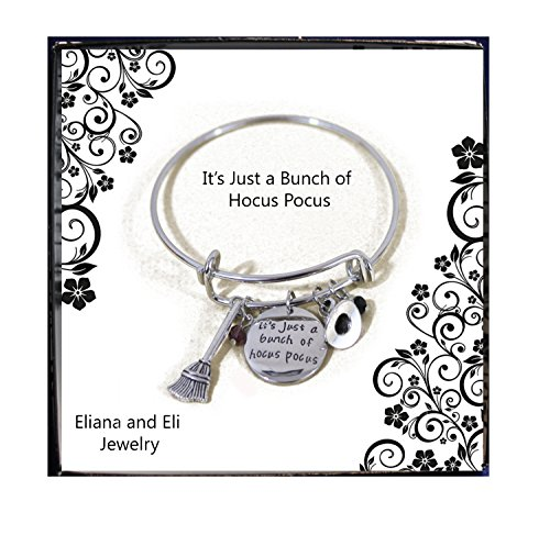 Hocus Pocus Message Expandable Silver Bracelet Bangle It's Just A Bunch of Hocus Pocus Letter Pendant with Crystals Silver Bracelet Halloween Cosplay Jewelry -