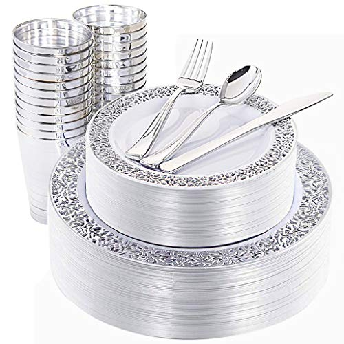 NERVURE 150 Piece Silver Lace Plastic Plates & Silver Plastic Silverware, Service for 25 Guests : 25 Dinner Plates,25 Dessert/Salad Plates 25 Forks,25 Knives, 25 Spoons, 25 -