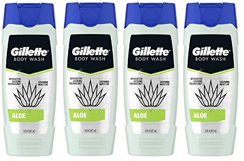 Gillette Hydra Aloe Body Wash for Men, 16 Fl Oz, 4 Count