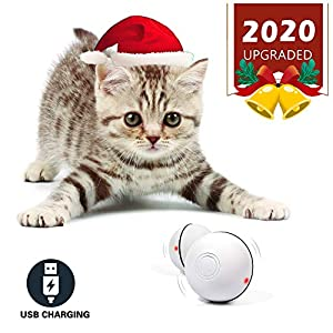 YOFUN Smart Interactive Cat Toy – Newest Version 360 Degree Self Rotating Ball, USB Rechargeable Pet Toy, Build-in Spinning Led Light, Stimulate Hunting Instinct for Your Kitty