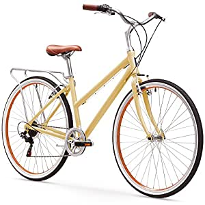 sixthreezero Explore Your Range Women's 7-Speed Hybrid Commuter Bicycle, 17-Inch Frame/700C Wheels, Cream