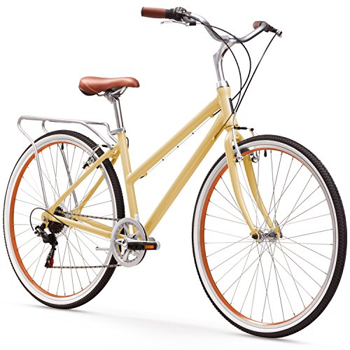 (sixthreezero Explore Your Range Women's 7-Speed Hybrid Commuter Bicycle, Cream, 17