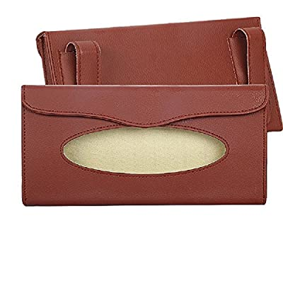 eJiasu Car Tissue Holder, Sun Visor Napkin Holder, Car Visor Tissue Holder, PU Leather Backseat Tissue case Holder for car,Vehicle(Brown): Automotive