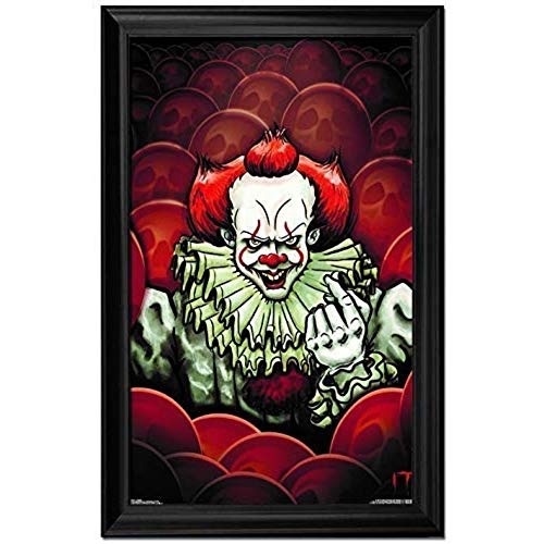 IT Movie Clown Wall Art Decor Framed Print | 24x36 Premium (Canvas/Painting Like) Textured Poster | Fan Picture from Stephen King Scary Horror Movies 2017 | Memorabilia Gifts for Guys & Girls Bedroom