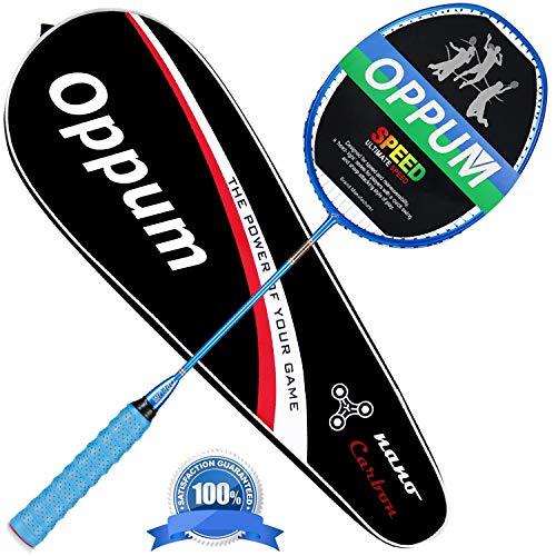 oppum Graphite Badminton Racket Integral Moulding Craft Racket Full Carbon Fiber Material Lightweight 1 Player Badminton Racquet-Blue