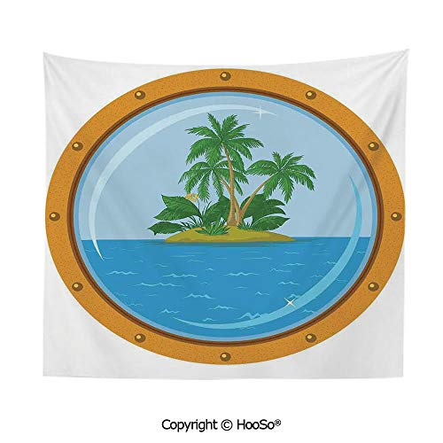 Durable Washable and Reusable tapestry wall hanging carpet 59x79in,Graphic of Tropic Island View from the Bronze Ship Window with Palm Trees,Blue Green Orange Comfy and No Strange Odor home decor