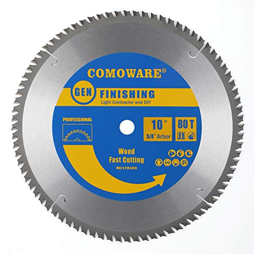 80 Tooth Laminate - COMOWARE Circular Saw Blade- 10 Inch 80 Tooth, TCG Premium Tip, Anti-vibration, 5/8 inch Arbor Light Contractor and DIY General Purpose Finishing for Wood, Laminate, Veneered Plywood & Hardwoods