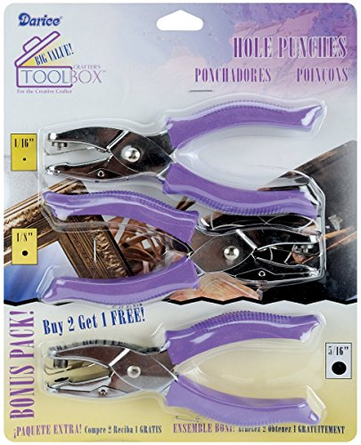 Darice Soft-Handled Hole Punch Cut-Out Rounds Set – Includes 1/16