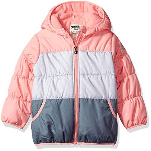 (OshKosh B'Gosh Baby Girls' Toddler Perfect Colorblocked Heavyweight Jacket Coat, Coral Princess/Heather, 2T)