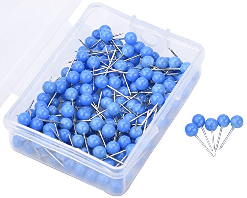 JoyFamily Map Tacks Push Pins ,1/5 Inch Round Head,3/5 Inch Total Length, Package of 150 Pcs (Blue)
