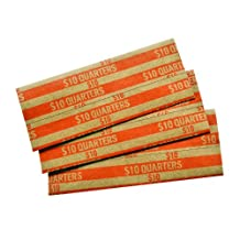 MMF Industries Pop-Open Flat Paper Coin Wrappers, Quarters, Orange, 1000 Wrappers per Box (216020016)