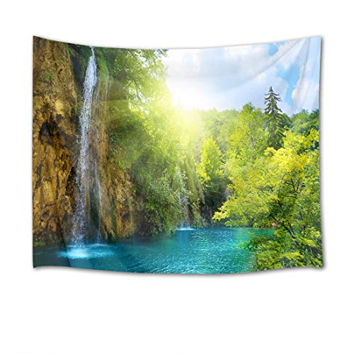 (HVEST Waterfall Tapestry Green Trees by The River in Mountain Wall Hanging Landscape Tapestries for Bedroom Living Room Dorm Party Decor,80Wx60H inches)