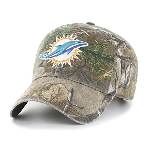 Miami Dolphins Hat (NFL Miami Dolphins Realtree OTS Challenger Adjustable Hat, Realtree Camo, One Size)
