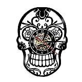 sproud 1Piece The Day Dead Dia De Los Muerte Mexican Skull Vinyl Wall Clock Lighting Gothic Sugar Skull Clock Home Decor