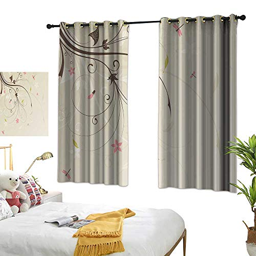 Panels Drapery Velvet Tan - Anzhutwelve Curtains and Drapes Dragonfly,Spring Field Bouquet Shabby Chic Abstract Blossom Greenland Graphic Art,Tan Brown Light Pink W63 x L63 Drapery Panels