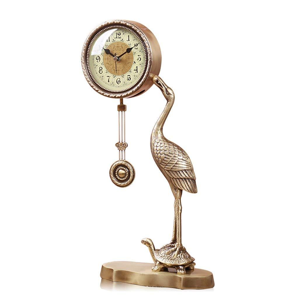 卓上時計家族向け時計ヨーロッパ式ピュア銅時計、クレーンミュート振動リビングルームベッドの寝室クォーツ時計リビングルームの寝室に最適 B07TJVRRQY