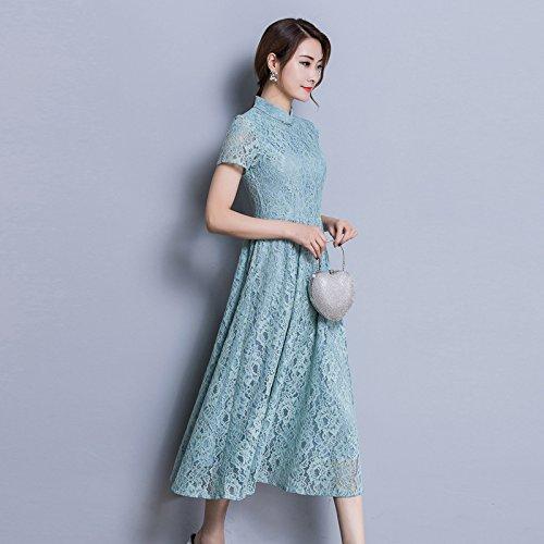 ZHUDJ Las Mujeres De Gran Tamaño _ Largo Vestido Encaje Vestido Niña Slim Slim Size Blue