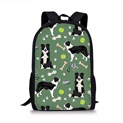 Youngerbaby Border Collie Print Kids School Backpack Children Bookbag for Girls Boys