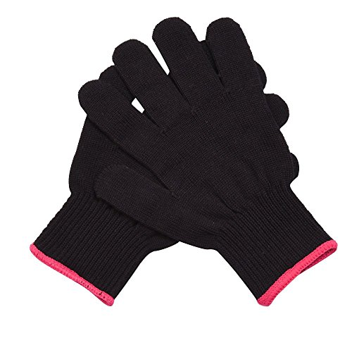 Mudder 2 Pack Heat Resistant Gloves for Curling, Curling Wand and Flat Iron, Black and Red (Heat Glove Hair compare prices)