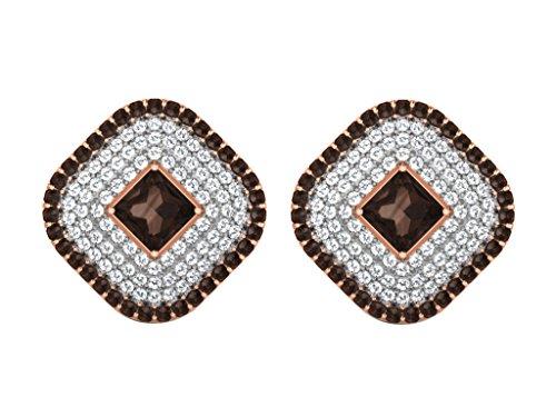 Libertini Boucle d'oreille argent 925 plaque or Rose serti de Diamant et Quartz