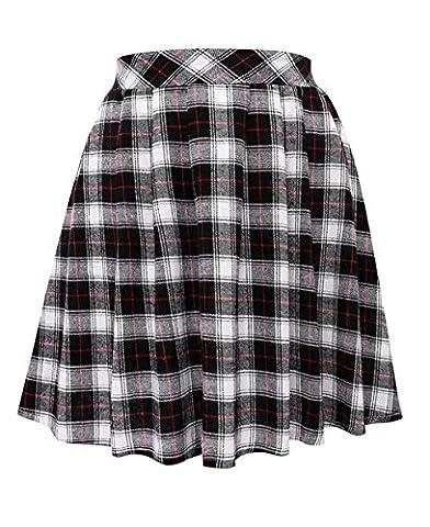 Women's Elastic Tartan Stretchy Plaid Pleated Mini Skirts (S, Black) - Pleated Plaid Mini