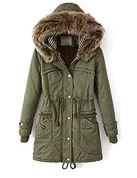 Women Thicken Fleece Fur Warm Winter Trench Coat Zip Hoodied Down Jacket