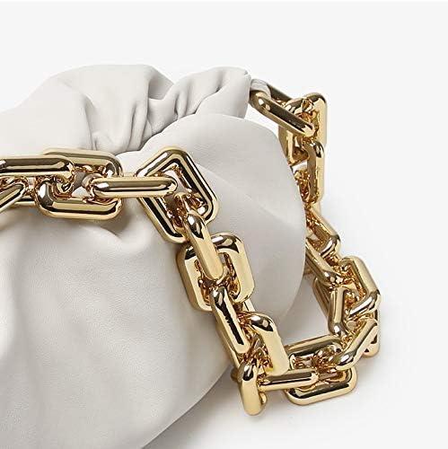 Ruched Chain Link Shoulder Handbag Womens Chain Pouch Bag Cloud-Shaped Dumpling Clutch Purse