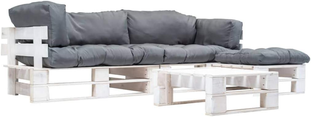 UnfadeMemory Sofa Palets Exterior con Mesa de Centro y Cojines,Sofá de Jardín,Sofás de Interior,Respaldo Extraíbles,Rústico,Sofás 220x126x65cm,Madera FSC (Gris y Blanco)