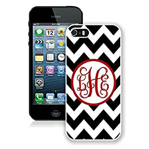 Coolest Iphone 5s Case Personalized Black Chevron Red Monogra Durable Soft TPU Silicone White Cellphone Cover for Iphone 5