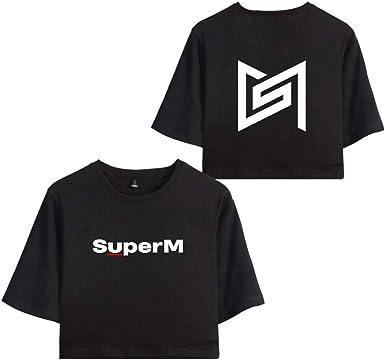 KPOP SuperM Crop Top Camisetas de Manga Corta Impresión T ...