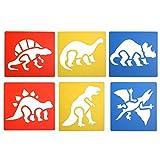 #7: SuxiDi 6 Pcs Washable Plastic Dinosaur or Jungle Stencils for Painting