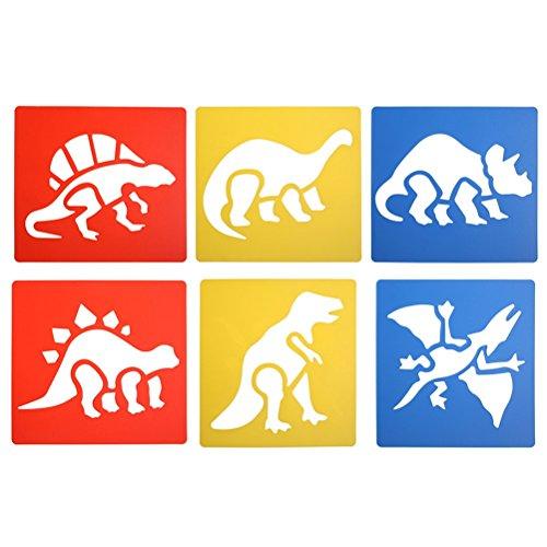 SuxiDi 6 Pcs Washable Plastic Dinosaur or Jungle Stencils for Painting