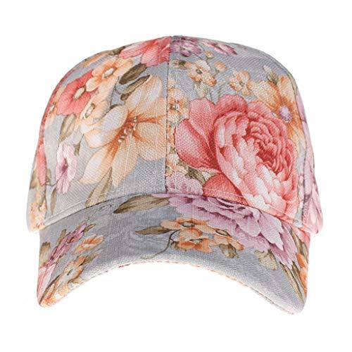 - Women Lady Summer Ponytail Baseball Cap Messy Bun Floral Print Hat Sun Caps Light Blue