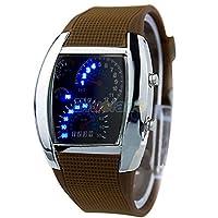 Acamifashion Fashion Men Women Sport LED Dashboard Pattern Dial Digital Wrist Watch - Silver Case/Coffee Band