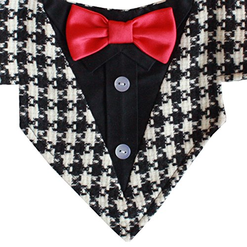Ace Formal Dog Bandana with Red Bow Tie (Medium) by Tail Trends