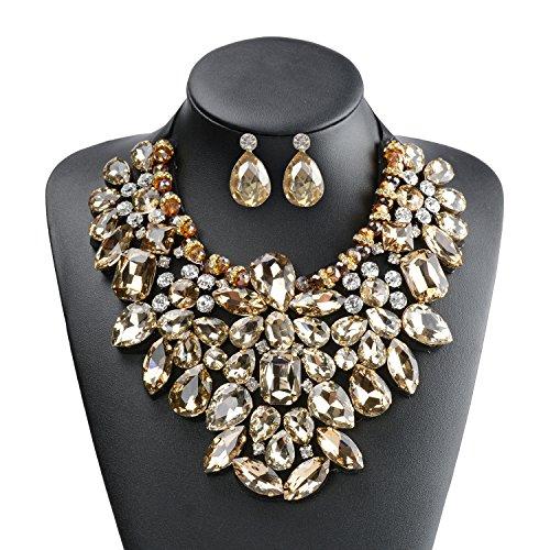 Holylove Woman Fashion Handmade Tawny Glass Beads Choker Statement Necklace with Earrings Jewelry Set-8454 Set