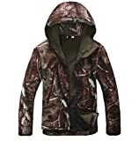Webetop Mens Outdoor Shark Skin WaterProof Breathable Fleece Hooded Tactical Softshell Military Jacket Coat,Tree Camouflage L Size,,Good for Spring Autumrn