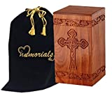 6 urns for human ashes - Solid Rosewood Cremation Urn with Hand-Carved Cross Design for Human Ashes - Celtic Cross Wooden Urn - Adult Wood Funeral Urn Handcrafted and Engraved - Affordable Urn for Ashes - Wood Urn