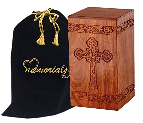 Solid Rosewood Cremation Urn with Hand-Carved Cross Design for Human Ashes - Celtic Cross Wooden Urn - Adult Wood Funeral Urn Handcrafted and Engraved - Affordable Urn for Ashes - Wood Urn