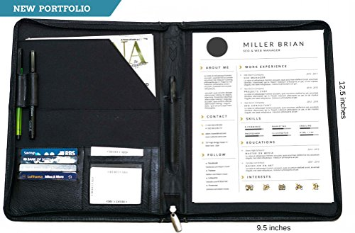 Leather Spiral Presentation Book (IFZA Business Leather Portfolio - Zip around Resume portfolio case + Writing Pad, Resume Template.100% Soft Leather - Black)