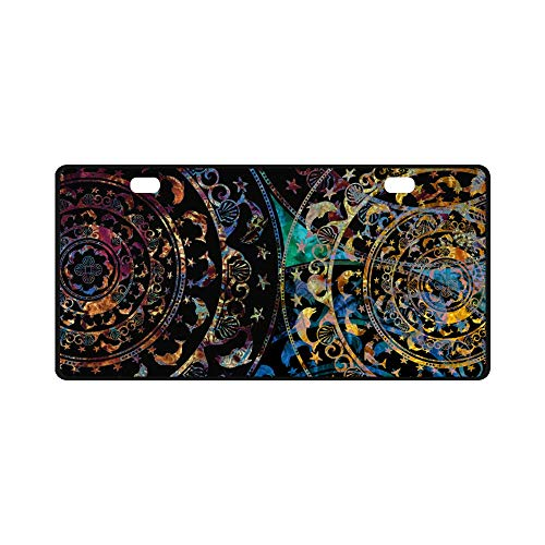 InterestPrint Circular Stencil Ornament DELF and Shell Colored Mandala Metal License Plate Car Tags Cover for Woman Man, 11.8