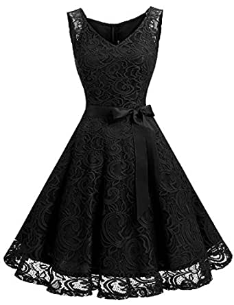 Dressystar Women Floral Lace Bridesmaid Party Dress Short Prom Dress V Neck XS Black