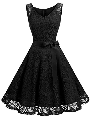 Dressystar Women Floral Lace Bridesmaid Party Dress Short Prom Dress V Neck M Black