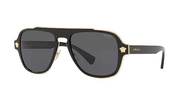 95e7098ce66 Amazon.com  Versace Mens Sunglasses Black Grey Metal - Polarized ...